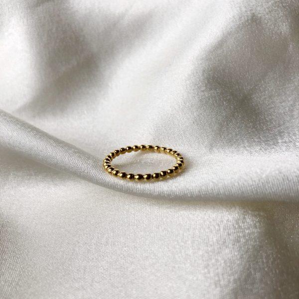 Anel Navi com Bolinhas em Prata com Banho de Ouro 24K